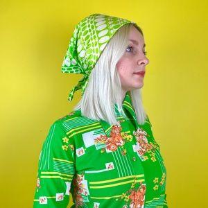 Vintage 60s psychedelic head scarf op art bandana